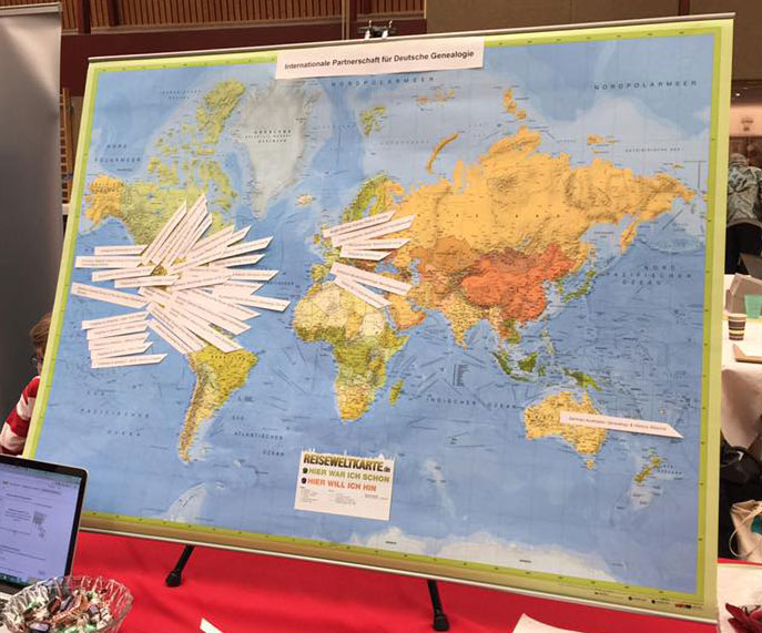 photo of world map with member locations pinned